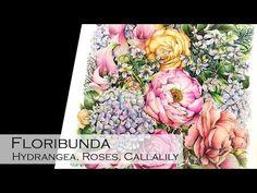 Floribunda | Hydrangea, Rose and Calalily | Adult Coloring Book: Floribunda - YouTube