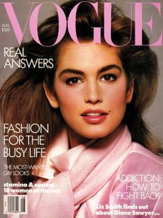 Cindy Crawford for Vogue, 1986. Looking all pink & 1980's <3