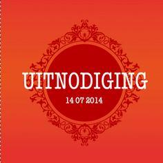 Modern, kleurrijk vormgegeven trouwkaartje in barokstijl, gewaagde kleuren oranje en rood en witte tekst.