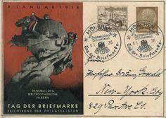 3pf+2pf Lifeboat 1937 Winter Help Semi-Postal on 3pf Hindenburg Medallion Denkmal des Weltpostvereins Tag der Briefmarke Printed to Order Postal Card 1938 Munchen, Reichsbund der Philatelisten Tag der Briefmarke  Illustrated Slogan to New York, N.Y.  - £8.93