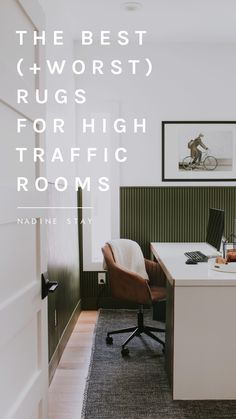 What rug materials are best for high traffic and low traffic rooms in the house? Listing the types of rugs you should avoid in heavily used rooms and the rug materials that can withstand wear and tear better. We're talking about flatweave, cotton, polypropylene, jute, wool, shag, fur, and silk. Suggested rug pile heights for high and low traffic rooms. Rug tips by Nadine Stay | #hightrafficrugs #rugtips #rugideas #pileheight #rugs #flatweaverug #woolrug #shagrug #livingroomdesign #livingroomrug