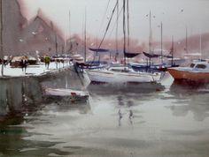 Ian Michael McManus - Watercolour Artist Watercolor Artists, Watercolour, Gallery, Painting, Boats, Street, Watercolors, Water, Ships