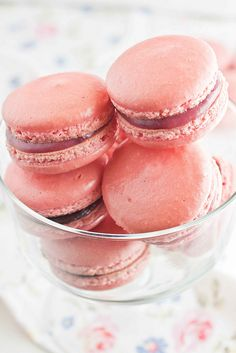 Raspberry macarons with raspberry white chocolate and dark chocolate ganache fillings