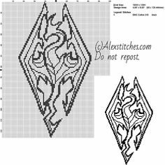 Symbol Skyrim dragon videogames free cross stitch pattern 100x126 1 color