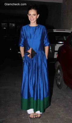Kalki Koechlin in Payal Khandwala during the special screening of Margarita With A Straw Western Dresses, Indian Dresses, Indian Outfits, Ladies Suit Design, Payal Khandwala, Kalki Koechlin, Blue Green Dress, Kurta Style, Indian Designer Outfits