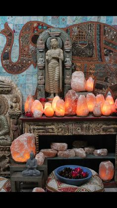 I hadn't thought to have a collection of salt lamps all burning bees wax candles.  What a wonderful glow that would make!