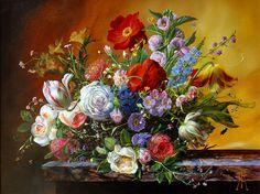 Originals Oils by Gyula Siska Old Master, Love Flowers, Originals, Paintings, Floral, Artist, Artwork, Collection, Work Of Art