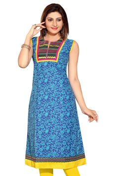 Blue Anarkali Style Short Sleeves Printed kurti with patchwork