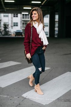 430ccf9218b 25 Winter Outfit Ideas + 5 Pieces I can t Stop Wearing. burgundy sweater