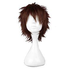 Harajuku Style Cosplay Synthetic Wig Silver Soul Hasegawa Taizou Short Wig(Brown)