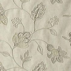 """Duralee Fabric DA61358 434 Jute Grandeur Embroideries 57% Polyester, 30% Linen, 13% Viscose INDIA - H: 9.5"""", V: 13"""" 52"""" - My Fabric Connection - Duralee"""