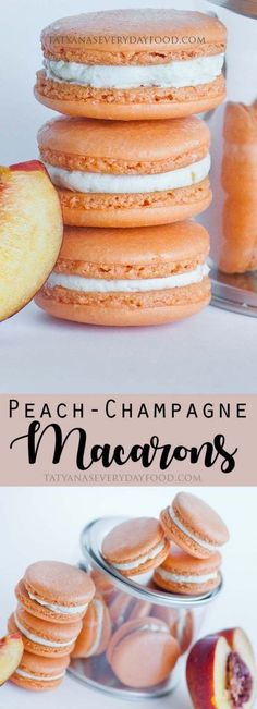 Gold-Dusted Macarons with Champagne and Peach Buttercreme - Tatyanas Everyday Food - Fancy, fruit and champagne-flavored macarons with gold pearl dust, filled with champagne and peach-f - Dessert Oreo, Brownie Desserts, Just Desserts, Delicious Desserts, Yummy Food, Gourmet Desserts, Baking Desserts, Plated Desserts, Tatyana's Everyday Food