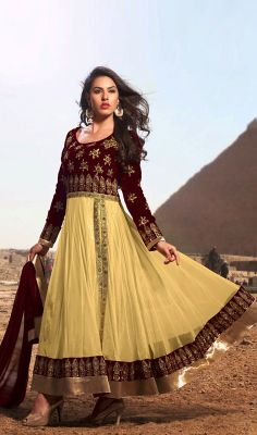 Cream and Eggplant Net Velvet Long Anarkali Churidar Suit #Georgette-AnarkaliSuit #Super-Stylish-Embroidered Price:British UK Pound £83, Euro102, Canada CA$153, Indian Rs.7614