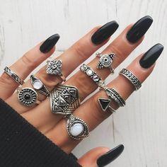 Iumer 10Pcs Vintage Steampunk Cross Moon Midi Finger Knuckle Rings Set... ($2.40) ❤ liked on Polyvore featuring jewelry, rings, silver cross jewelry, vintage rings, steampunk jewelry, vintage silver jewelry and silver jewellery