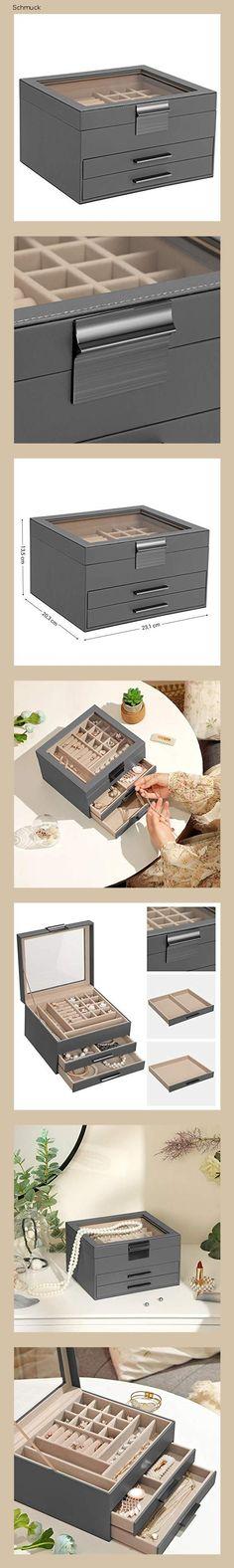 SONGMICS Schmuckkästchen mit Glasdeckel, Schmuckkasten mit 3 Ebenen, Schmuckbox mit 2 Schubladen, Schmuckaufbewahrung, Geschenk für Ihre Liebsten, grau JBC239GY - 14g7