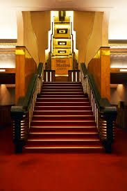 The staircase leading to the foyer at Liberty Cinema, Mumbai.