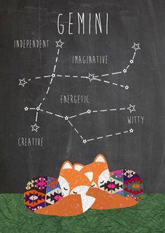 Gemini Zodiac constellation and traits Art Print by Claudia Schoen