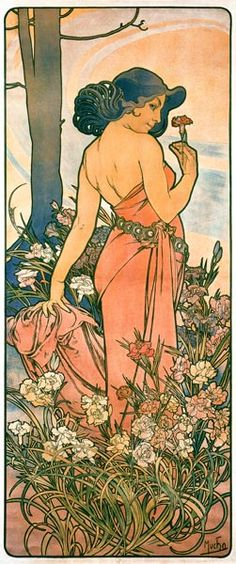 Alphonse Mucha - Les Fleurs - L'œilletFosterginger.Pinterest.ComMore Pins Like This One At FOSTERGINGER @ PINTEREST No Pin Limitsでこのようなピンがいっぱいになるピンの限界