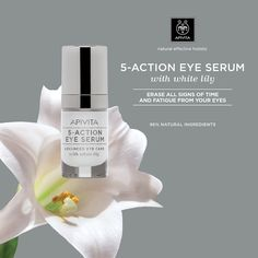 New with white lily! Firmness-Wrinkles Reduction-Hydration-Dark Circles-Signs of Fatigue.The look opens up & the area around the becomes visibly more youthful & radiant! White Lilies, Eye Serum, Make Me Up, Dark Circles, Face Care, Lily, Action, Signs, Eyes