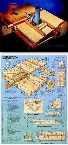 Horizontal Boring Jig - Drill Tips, Jigs and Fixtures   WoodArchivist.com