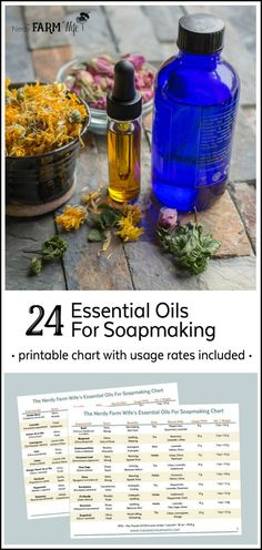 24 Essential Oils for Soapmaking - This handy printable chart includes helpful information and usage rates for a variety of essential oils that can be used in cold process soap recipes.