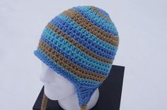 Adult Crocheted Hat with Ear Flaps in Tan by TheTipsyTurtle, $25.00