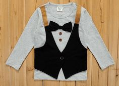 2014 spring new arrival cotton bow tie button vest long sleeve kids t shirts #Vest #Everyday