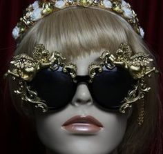 1908 Total Baroque Faced Gold Cherubs  Embellished Sunglasses Shades