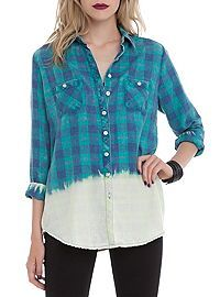 HOTTOPIC.COM - Green Plaid Bleached Out Top