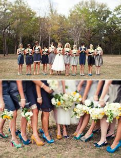 So fun! I love it when everyone's personality comes out and still look beautiful.     via greenweddingshoes.com