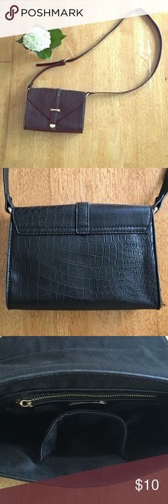 Black Faux Leather Crossbody Bag This simple and sleek bag is perfect for carrying a few essentials. It has never been used. Forever 21 Bags Crossbody Bags