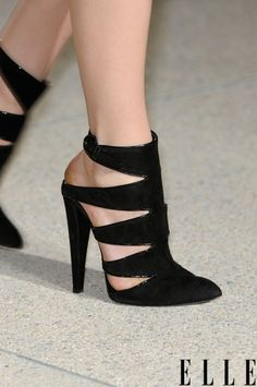 elle: Paris Fashion Week Lust-worthy cutout shoes from the Anthony Vaccarello show! Photo: Imaxtree