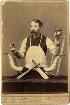 1880s occupational butcher w knives saw steer horns mitchell anniston