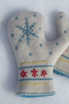 Hand Embroidered Snowflake Design Felted Wool by ThatsSewTimeless Christmas Sewing, Christmas Embroidery, Old Sweater Crafts, Wool Felt, Felted Wool, Sweater Mittens, Art Populaire, Recycled Sweaters, Mittens Pattern
