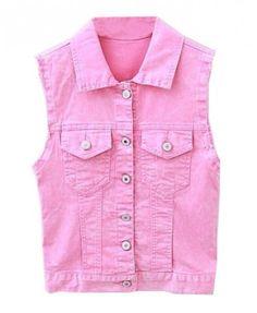 Point Collar Pink Denim Vests with Frayed Cuffs