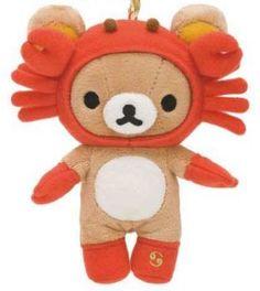 Zodiac Sign Cancer Rilakkuma Bear Plush Charm - Cute!!!   ^ u ^