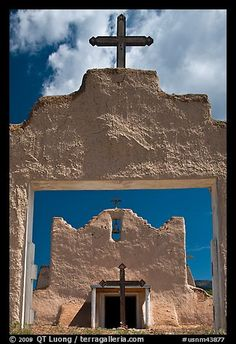 San Lorenzo Church seen through adobe walls, Picuris Pueblo. New Mexico, USA