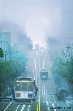 Cable Cars On Hyde Street In The Fog,  San Francisco By Mitchell Funk   www.mitchellfunk.com