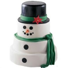 Four stacked cakes make this snowman a real crowd-pleaser!