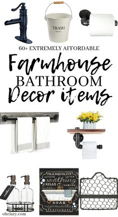 60 Modern Farmhouse Bathroom Decor Ideas On A Small Budget. Brilliant farmhouse bathroom accessories from soap dispenser to towel bars and wire baskets, these shabby chic ideas are guaranteed to transform your french country style bathroom! Farmhouse Bathroom Accessories, Country Style Bathrooms, Modern Farmhouse Bathroom, Rustic Farmhouse Decor, Farmhouse Ideas, Farmhouse Style, Vintage Farmhouse, French Country Bathroom Ideas, French Bathroom Decor
