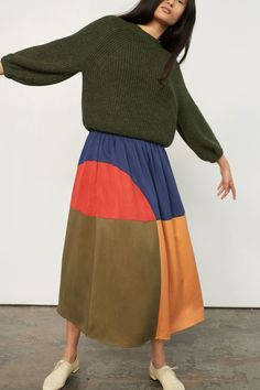 a case of you Mara Hoffman Milly Skirt in Penny Colorblock – Peyote Moon 70s Fashion, Fashion Week, Look Fashion, Teen Fashion, Winter Fashion, Fashion Outfits, Womens Fashion, Fashion Tips, Fashion Design