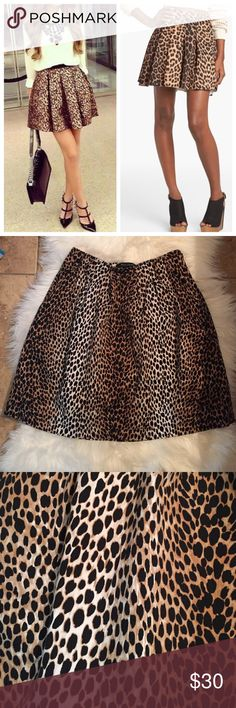 WHBM- Cheetah Skirt! So fun! EUC- came with a belt, but unable to find. (priced accordingly) has pockets on both sides. Waist measures 13' and is 19' long. 988% cotton 2% spandex.  trades- happy poshing! White House Black Market Skirts Circle & Skater