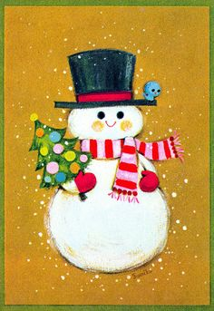 Vintage Christmas Card  featuring snowman. Probably fr late 60s.  Wonder if these were illustrated in Japan.