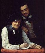 Zelfportret van Winterhalter met zijn broer in 1840
