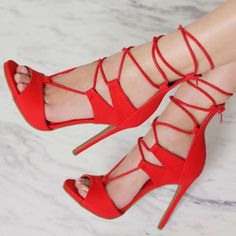 Lace Up Single Sole High Heels