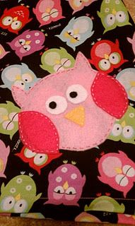 Owl applique. Just put this on a shirt for a birthday gift. Turned out super cute. I will have to post mine, too!