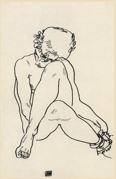 Egon Schiele, Sedentary act with crossed legs