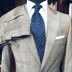 """mydapperself: """" Magnificent check pattern and fun polka dots. How do you like this combo? #suit #check #gray #polkadots #ootd #blue #shirt #jacket #suitup #style #formal #bespoke #sartorial #mtm..."""