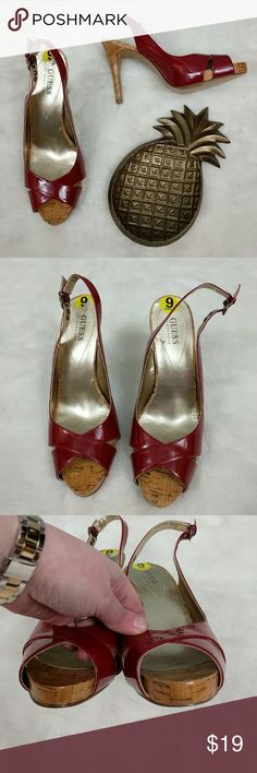 Guess Patent Leather Cork Heels Brand new red patent leather slingbacks from Guess with 4 inch heel including .75 inch platform. Heels have minor imperfections to patent leather, but they are not noticeable when wearing. Guess Shoes Heels