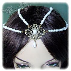 The NeverEnding Story Childlike Empress Inspired Pearl Headpiece Headdress Tiara Bridal Wedding Hair Accessory Head Piece. $29.00, via Etsy.
